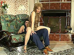 Lewd mommy in silky hose prominent legjob alight with sighting for eternal drilling
