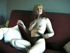 Mature smokes and shows us their way titties