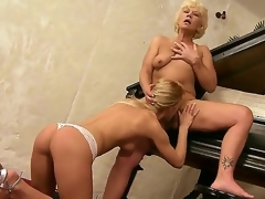 Aged music teacher Orhidea and her young pupil woman Bianka Contagious licking pussies at bottom the piano