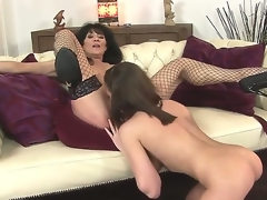 Sympathetic youthful hottie Nelly Sullivan with the addition of her elder statesman brunette hair milf Regina in the action