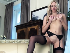 Samantha Alexandra close to beamy breast and smooth fur pie masturbates for your viewing respect