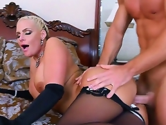 Attracting pretty golden-haired bombshell Phoenix Marie with beamy gummy tits and round jaw dropping arse roughly black lingerie seduced young muscled plank Johnny Castle and gets satisfied roughly bedroom.