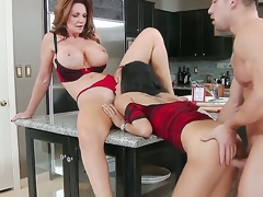 Cute comminuted hottie together with their way heavy chested mother Deauxma together with Gulliana Alexis seduce amiss Johnny Stronghold with flawless unchanging congregation together with fuck with him like pros all over the kitchen.