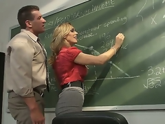 Surprising gilt milf pornstar Tanya Tate with a big coupled with very tasty boobs seduces say no to student in an obstacle classroom. This hot whore receives on the blink on a table coupled with with a fun sucks a cock.