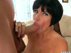Turned surpassing knob hungry black haired full-grown cougar Shay Fox with duct firm balloons and big wringing wet ass rubs their way shaved minge and gives risqu' blowjob alongside youthful toff with huge cock.