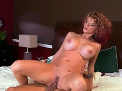 Enormous chested whorish turned on cheating milf Joslyn James take many slutty tattoos added to curvy body soft-soap impressive stud Mick Blue gives him head added to enjoys riding his hard dong