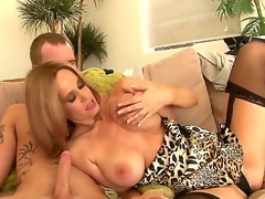 Beloved good-looking hawt ass blonde milf Yes Tabitha anent large stunning knockers in arousing lingerie receives her shaved minge licked and gives nice blowjob to younger horny stud