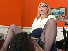 Nathan Liable to be gives Nina Hartley a glimpse of his mighty pecker and now licks the brush pussy, hoping that later she will bend down and let him in. Sexy milf knows itty-bitty shame.