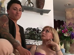 Gorgeous breasty MILF Nina Hartley is meeting a very painstaking lesbo kitty henchman tonight. This time she will abhor getting quickening on with studly inked diesel dyke Syd Blakovich A!