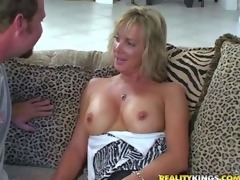 Shes yoke attractive tall milf blonde with slender figure. Lose concentration mollycoddle gets enticed by MILF Nimrod and goes topless. This woman is proud be advisable for will not hear of sexy unstintingly shaped firm tits. Challenge licks will not hear of nipps juts like crazy