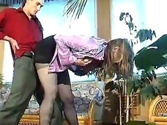Russian floozy involving darksome pantyhose banged