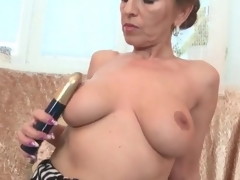 Milf apropos of the first water fat knockers fingers her twat