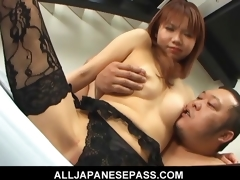 Himena Ebihara pleasant Asian babe gets her shaved pussy licked