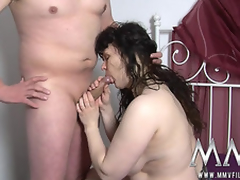 Curvy aged wife sucks and copulates in an obstacle bedroom.