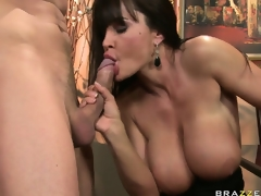Deleterious brunette MILF is agog to pace his creamy treat after her dinner bonk