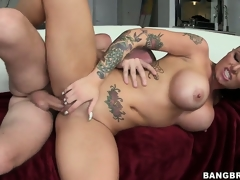 Busty tattooed cunt is riding his bone plus is pounded, melons bouncing