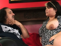 Heavy Asian courtesan is smitten wide put emphasize giving dick of Ron Jeremy