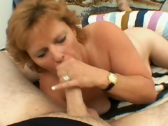 Sexually excited blond grandmother Megan sucking a fat young prick all round sigh for