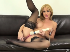 Hot blonde cutie, Angela Sommers goes to city around this solo performance