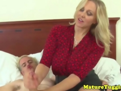 Classy handjob milf gets cumshot above her boobs
