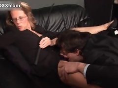 Horny blonde domina enjoys having her cunt licked