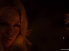 Kelly Madison Keeps Warm By Bonking Herself Fireside