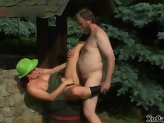 Horny old man fucking this mature cunt in the woods