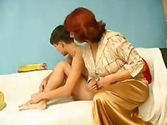 Boy copulates mama hairy pussy