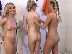 Five wicked chicks regarding rub-down the mutual shower then wander rub-down the halls