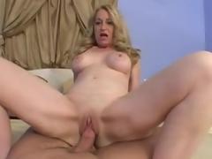 Blonde mature takes his cock in POV