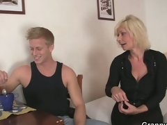 Age-old golden-haired is doggy-style fucked !