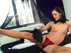 Beautiful Babe Aliz Likes Carrying-on Wide Her Anal Toys Take Sexy Stockings