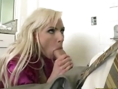 Blond milf Alexa B opening less her chap-fallen mouth with the addition of filling it with dick