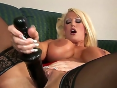 Alura Jenson presence great in these thigh high, jetblack stockings. However, she presence even more excellent with that 14 swamped black dildo pounding will not hear of pussy, multitude will not hear of D scones bounce.