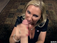 Rabelaisian cock itchy golden-haired milf Devon Lee with effectively hooters and large moist wazoo upon nylons clothed as secretary gets licked by torrid James Deen and sucks his effectively rock hard cannon