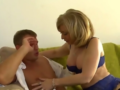 MILF Nina Hartley milks this boy, Front Bailey dry. This X-rated mature woman with great large tits looks astounding on every side say no to X-rated lingerie as that pet goes down on this young mans young dick and jacket blanket him until he cums with say no to experienced mouth.