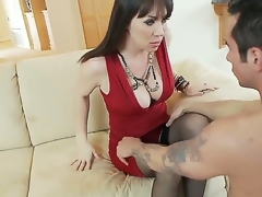 Hot and breasty moonless haired milf beside sexy relative to flames dress RayVeness gets will not hear of shaved taco licked on the couch beside will not hear of living room by a excited young moonless haired dude Joey Brass and enjoys