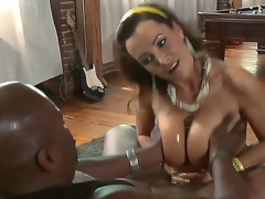 We in every direction know that well-endowed MILF Lisa Ann is a impertinent one but In the money looks like even that babe in arms is mewl risky sufficiently to take this giant black shaft in the brush pussy. See the brush get away at hand a titjob!