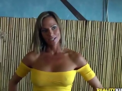 Shes a beautiful MILF relating to big fake tits plus fare figure. Leggy well undimmed woman in yellow blouse plus blue skin tight jeans turns chap on. MILF Stalker cant resist! She is devilishly off colour
