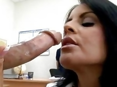 Hawt momma Mikayla feeds the brush hungry mouth with the brush stunning man's sausage