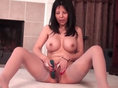 Mother approximately big concerning tits fucks a dildo