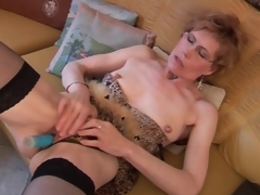 Mature in stockings and underware has dildo sexual relations