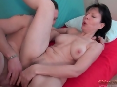 Cocksucking old little one rides his thick young locate