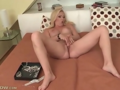 Large titty blonde milf masturbates say no to sexy hole