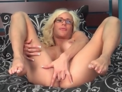 Big fake titty mollycoddle Puma Swede sits on trinket