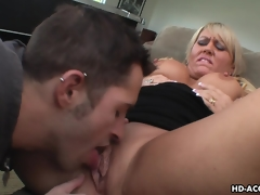 Dreamy blonde MILF enjoys forlorn twat stuffing