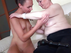 OldNanny Correct young woman plus ancient granny masturbated