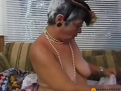 Gray-haired dame sucks dong