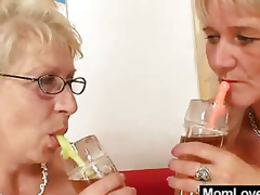Large-titted gramma permeates a madame