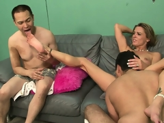Light-complexioned floosie forces her cadger to see as she gets fucked real hard
